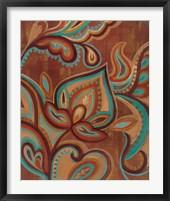 Framed Bohemian Paisley II Turquoise