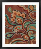 Framed Bohemian Paisley I Turquoise