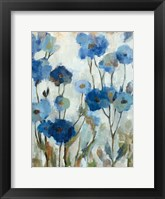 Framed Abstracted Floral in Blue III