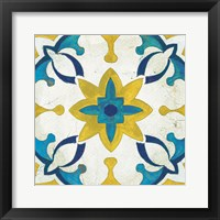 Framed Andalucia Tiles D Blue and Yellow