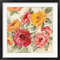 Framed Brushy Roses Crop with Teal