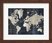 Framed Old World Map Blue Crop