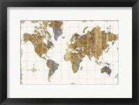 Framed Gilded Map Linen
