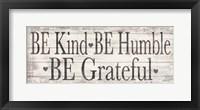 Framed Kind Humble Grateful Wood Sign