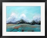 Framed Turquoise Landscape