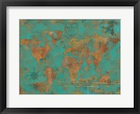 Framed Rustic World Map