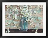 Framed Blossoms in Mason Jar