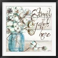 Framed Cotton Boll Mason Jar I Family