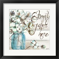 Framed Cotton Boll Mason Jar I Family