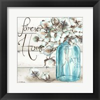 Framed Cotton Boll Mason Jar II Home