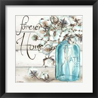 Framed Cotton Boll Mason Jar II Home