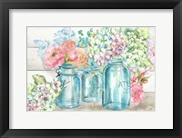 Framed Colorful Flowers in Mason Jar Landscape