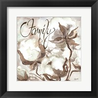 Framed Cotton Boll Triptych Sentiment III (Family)