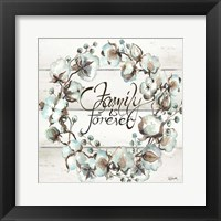 Framed Cotton Boll Family Wreath
