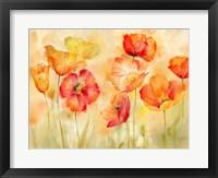 Framed Watercolor Poppy Meadow Spice Landscape