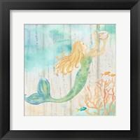 Framed Sea Splash Mermaid Woodgrain I