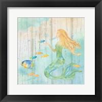 Framed Sea Splash Mermaid Woodgrain II