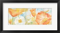 Framed Poppy Meadow Pastel Woodgrain Panel