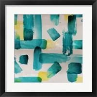 Framed Aqua Abstract Square I