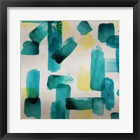 Framed Aqua Abstract Square II