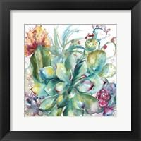 Framed Succulent Garden Watercolor I