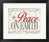 Framed Peace on Earth Woodgrain sign