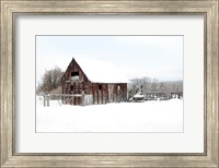 Framed Winter Barn Landscape
