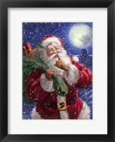 Framed Santa on Blue with moon