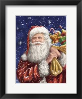 Framed Santa with his sack on Blue