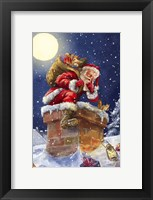 Framed Santa at Chimney with moon