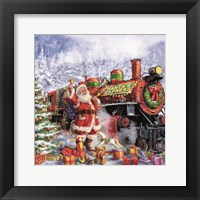 Framed Santa and Red Train