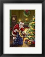 Framed Santa at Tree Blue Sack