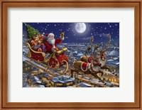 Framed Santa Sleigh and Reindeer in Sky
