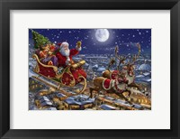 Framed Santa Sleigh and Reindeer in Sky