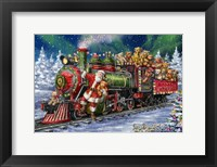 Framed Santa Green /Red Train with toy bears