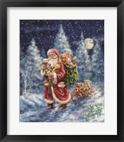 Framed Santa in Winter Woods with sack