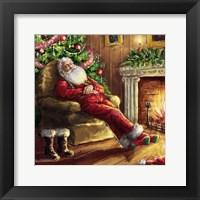 Framed Santa asleep in Chair