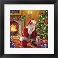 Framed Santa at tree with present