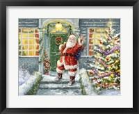 Framed Santa on Steps with green door