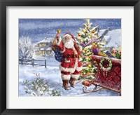 Framed Santa ringing bell with Sleigh