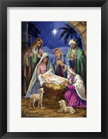 Framed Holy Family with 3 Kings