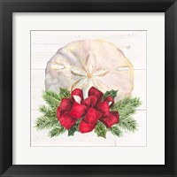 Framed Christmas by the Sea Sanddollar square