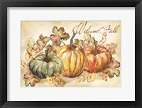 Framed Watercolor Harvest Welcome Fall