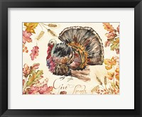 Framed Watercolor Harvest Turkey