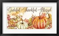 Framed Watercolor Harvest Pumpkin Grateful Thankful Blessed