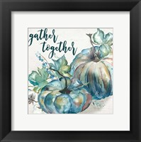 Framed Blue Watercolor Harvest  Square Gather Together