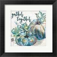 Blue Watercolor Harvest  Square Gather Together Framed Print