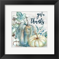 Blue Watercolor Harvest Square Give Thanks Framed Print