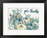 Framed Blue Watercolor Harvest Pumpkin Landscape Give Thanks
