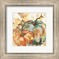 Framed Watercolor Harvest Teal and Orange Pumpkins II